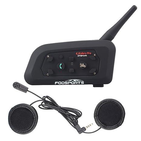 Moto Casco Auriculares Intercomunicador Bluetooth para Motocicletas, V6 Gama Comunicación Intercom de 1200m, Soporte