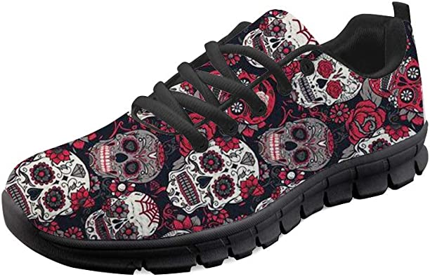 Skull and Flowers Walking Shoes for Men new Lightweight Air Running Shoes