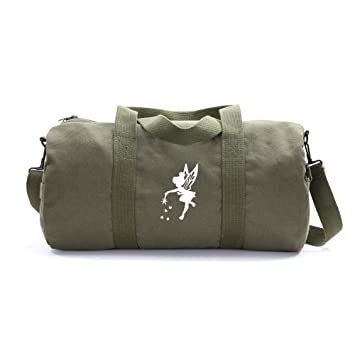 1a5ffa96877 Amazon.com   Tinker Bell Fairy Peter Pan Army Sport Canvas Duffel Bag in  Olive   White Medium   Sports Duffels