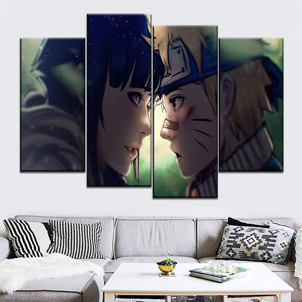 Amazon Com Jyokk 4 Panels Print On Canvas Naruto Couple Artwork Hyuga Hinata Uzumaki Naruto Wall Art Painting Pictures The Picture For Home Modern Decoration A 20x40cm2 20x60cm2 Posters Prints