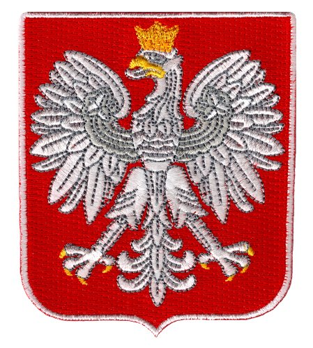 Poland Coat of Arms Patch Polska White Eagle Shield Embroidered Iron-On ()