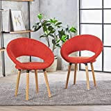 Kagan Fabric Modern Dining Chair (Set of 2) (Muted Orange)