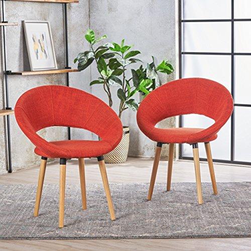 Kagan Fabric Modern Dining Chair (Set of 2) (Muted Orange)