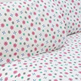 Mellanni 100% Cotton 4 Piece Printed Flannel Sheets Set - Deep Pocket - Warm - Super Soft - Breathable Bedding (Full, Colorful Snowflakes)
