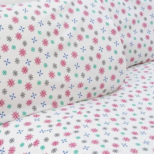 Mellanni 100% Cotton 4 Piece Printed Flannel Sheets Set - Deep Pocket - Warm - Super Soft -...