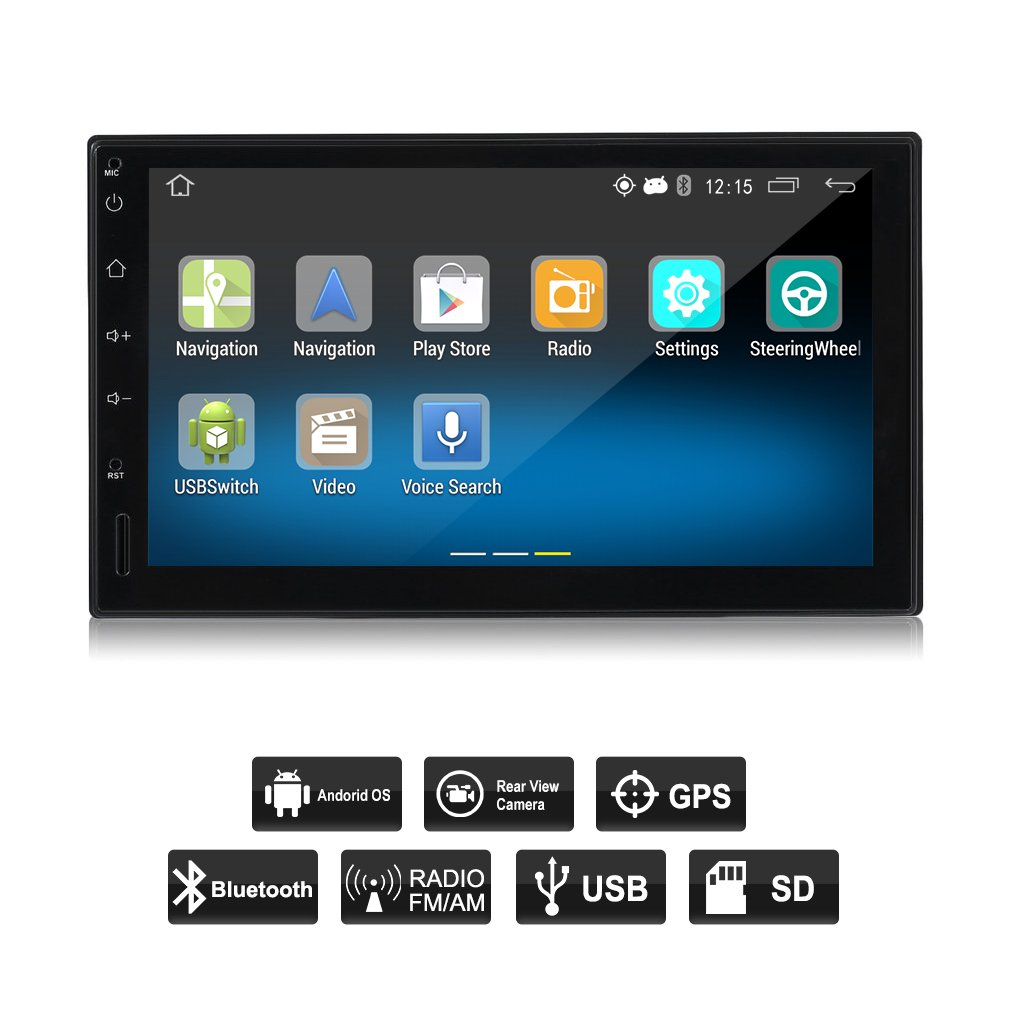 OUTAD Touch Screen Car Stereo with Navigation, Double Din Android 5.1 Car Radio Stereo 7 Inch Touch Screen HD 1024x600 GPS Navigation FM Bluetooth WIFI USB SD Mirror Link with Rear View Camera