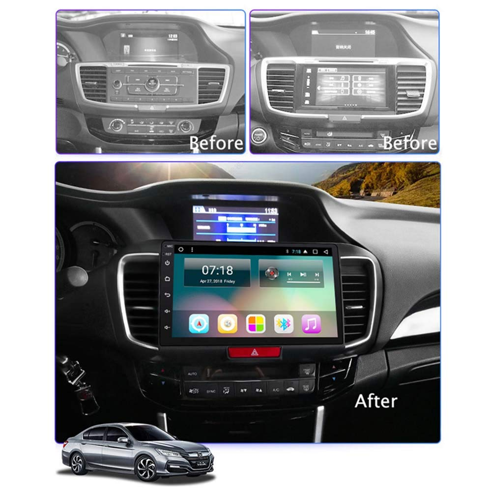 Android 8.1 Car Radio for Honda Accord 2013-2016 Car Stereo GPS Navigation 10.1 Inch Touch Display Car Media Player Support Screen Mirror WiFi Bluetooth Steering Wheel Control
