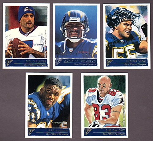 San Diego Chargers 2001 Topps Gallery Football Team Set (Doug Flutie) (LaDainian Tomlinson Rookie) (Junior Seau) (Jeff Graham) (Tim Dwight)