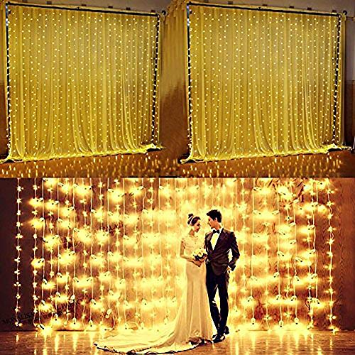 8' Clear Letters - Valuetom 304 LED Curtain Lights Fairy String Twinkle Lighting for Party Wedding Home Garden Decoration 9.8Ft9.8Ft (Warm White)