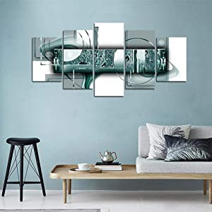 yj_art Green Abstract Canvas Print Painting Home Decor 5 Panels Turquoise Wall Art Picture for Living Room Office Decorations Ready to Hang (C,Overall Size: 40''W x 20''H)