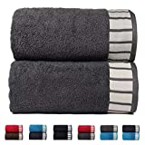 Trident His & Her 550 GSM 2 Pack Cotton Bath Towel Set - Grey