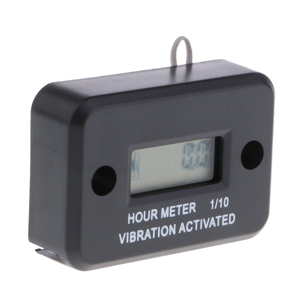 Baoblaze Waterproof Wireless Vibration Hour Meter for Motor Machinery Mower - Black