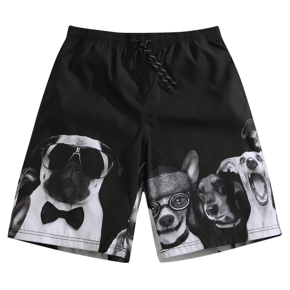 Sulang メンズ スリムフィット 超速乾 水泳パンツ ボードショーツ (メッシュ裏地なし) B07774J4KZ XL Puppy Lover Puppy Lover XL
