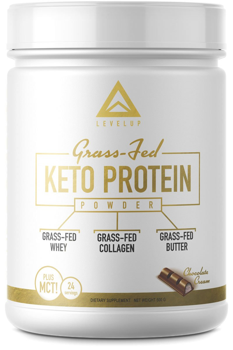 Grass-fed Keto Protein Powder: Collagen Peptides | Pure C8 MCT Oil | Irish Butter | Whey Protein Isolate | Best Ketogenic Protein Shake Supplement | by LevelUp® (Chocolate Cream) by LevelUp