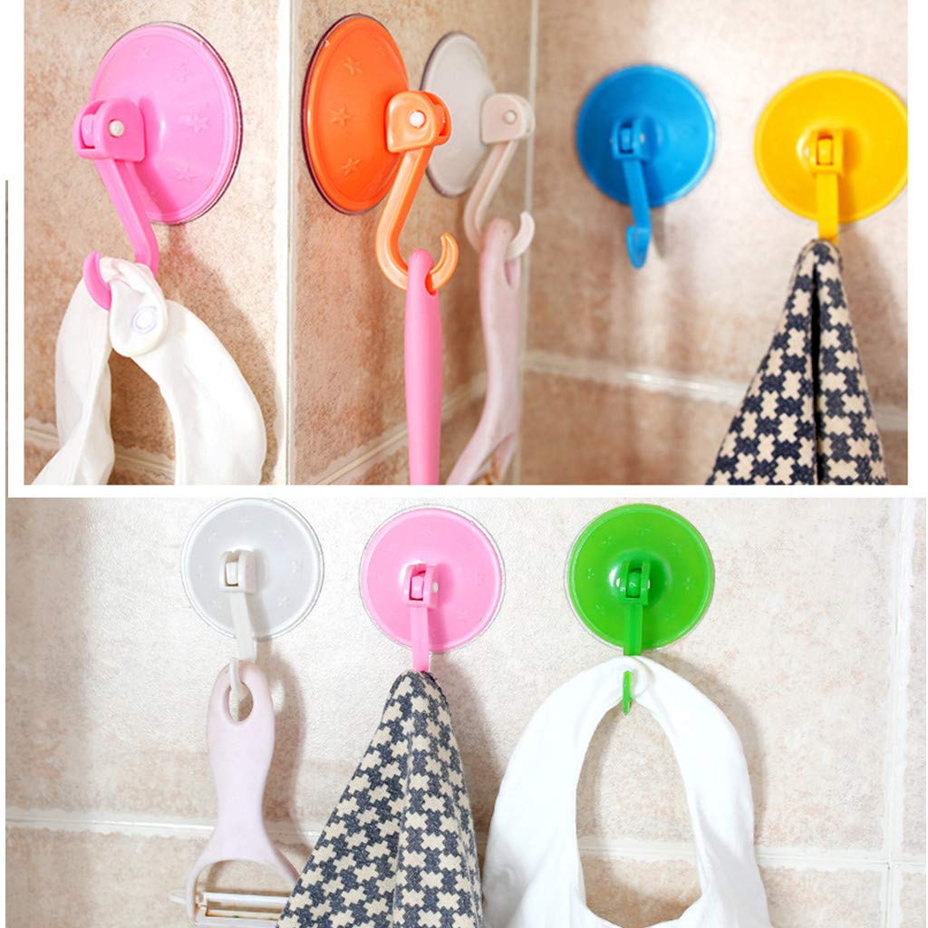 Secure Hold Accessory for Windows Shower TTKB.HH 4 Piece Multicolor 180 Degree Rotation Adhesive Suction Silicone Cup Hooks Bathroom /& Kitchen