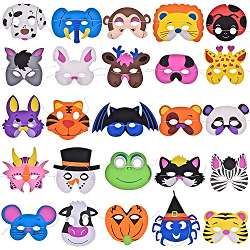 Fun Little Toys 25PCs Foam Animal Masks Party Supplies Pack for Photo Booth, Dress-Up Costume Party Favors and More -