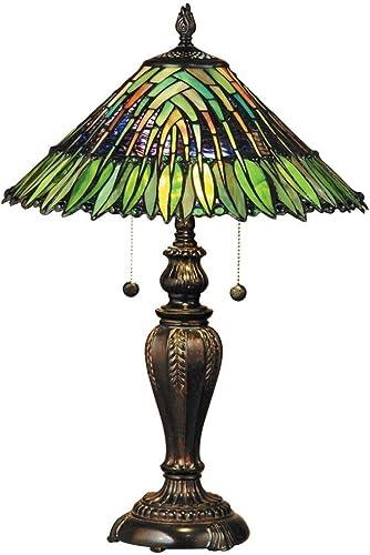 Dale Tiffany TT100914 Leavesley Two Light Table Lamp, Fieldstone
