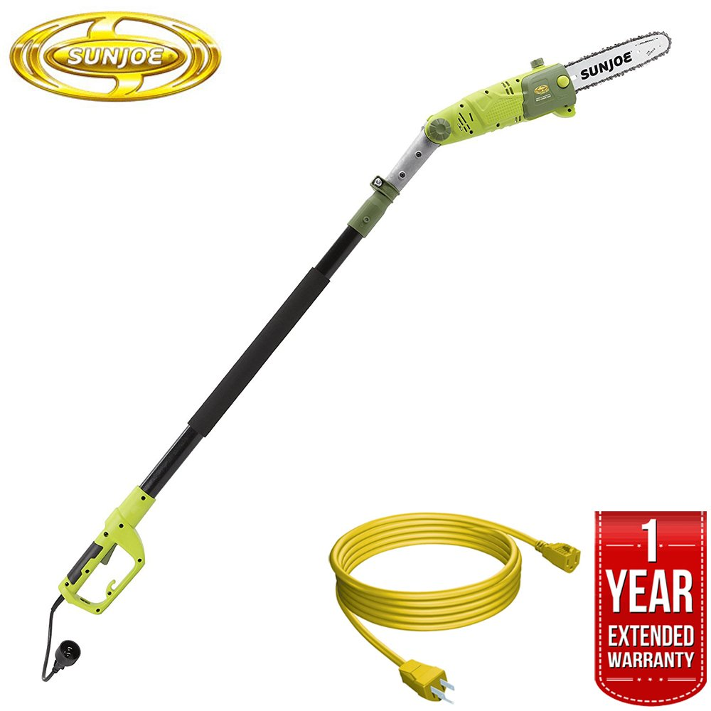 Sun Joe Saw Joe 10-Inch 8-Amp Multi-Angle Telescopic Electric Pole Chain Saw (SWJ803E) All You Need Bundle with 25 Foot Outdoor Extension Cord and One year Warranty Extension
