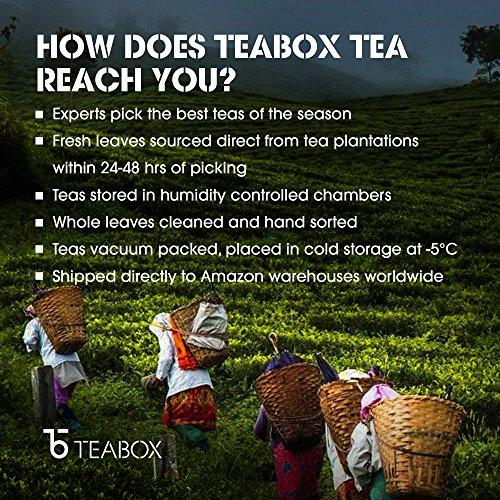 Teabox USDA Organic Himalayan Darjeeling Black Loose Leaf Tea 12 Oz. (170 Cups) | Fresh Whole Leaf Tea (2 Free Exotic Samples) |100% Natural Ingredients: Basil, Fennel, Orange | Sourced from India by Teabox (Image #7)