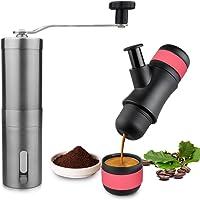 PUNICOK Mini Manuelle Espressomaschine Portable Espresso Maker für Hause Büro Reise im Freien mit Kaffeemühle(80 ml Wasserkapazität, 8 Bar Brühdruck)