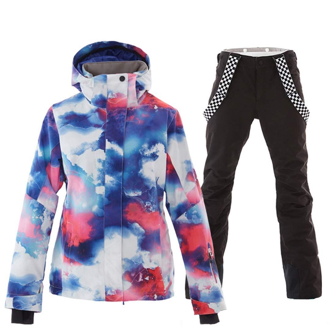 Color : Blue, Size : XS randonn/ée en Plein air Neige FELICIG Veste et Pantalon de Ski pour Femmes Snowboard Combinaison de Ski Coupe-Vent imperm/éable pour Pluie