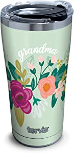 Tervis Mint Grandma Floral Stainless Steel Insulated Tumbler with Clear and Black Hammer Lid, 20oz, Silver