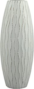 Stonebriar Vintage Textured Pale Ocean Wooden Vase for Dried Flowers and Decorative Branch Filler, Small, Light Blue
