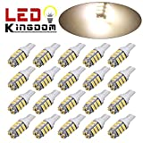 LEDKINGDOMUS 20x T10 Car Backup Reverse 42-smd LED Warm White Light Bulbs 921 912 906 168 192 W5W
