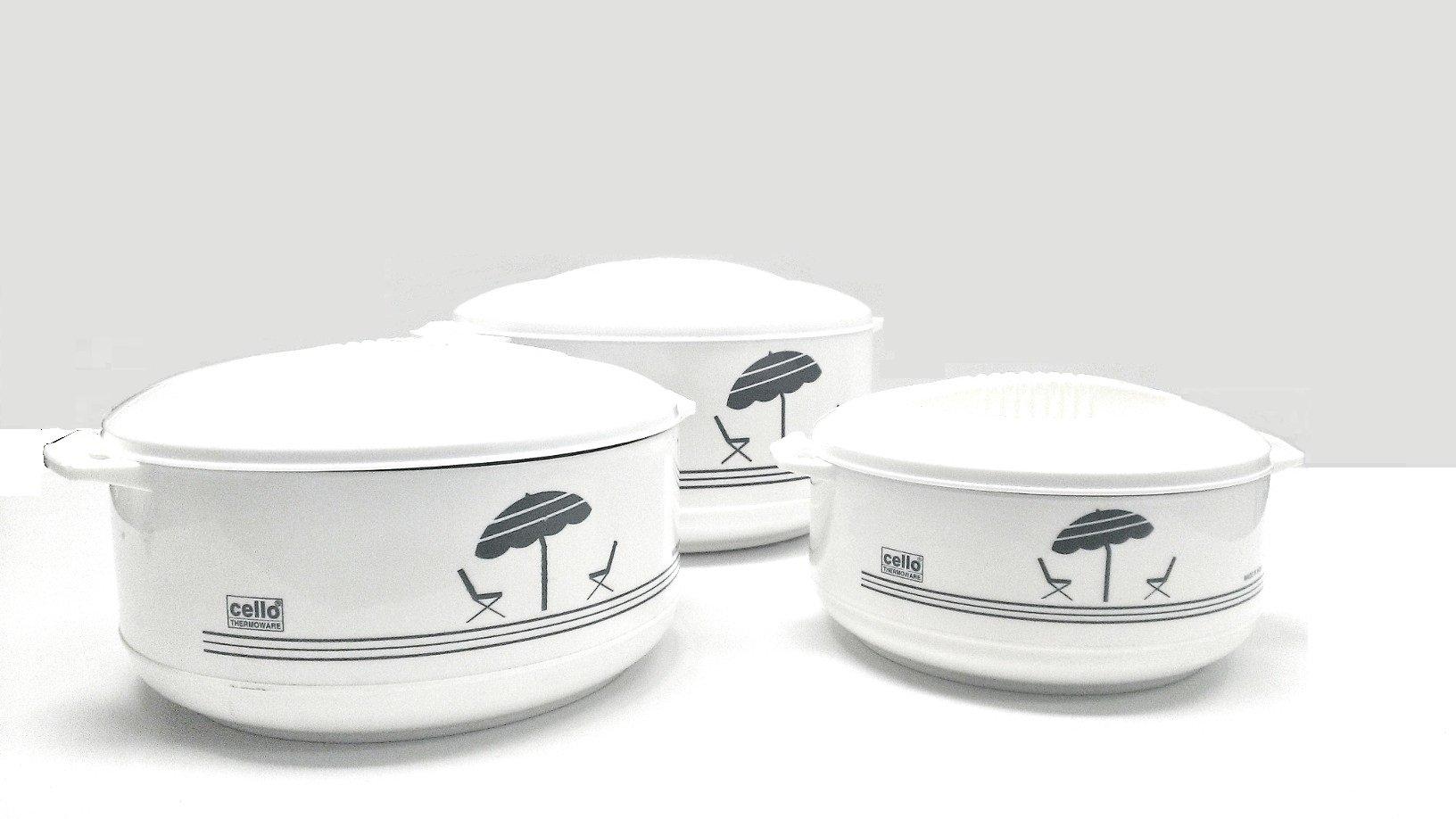 Cello Super3 3-Piece Hot Pot Insulated Casserole Hot Pack Food Warmer Gift Set