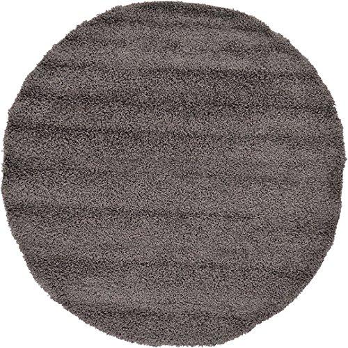 Unique Loom Solid Shag Collection Graphite Gray 6 ft Round Area Rug (6' x - Graphite Round
