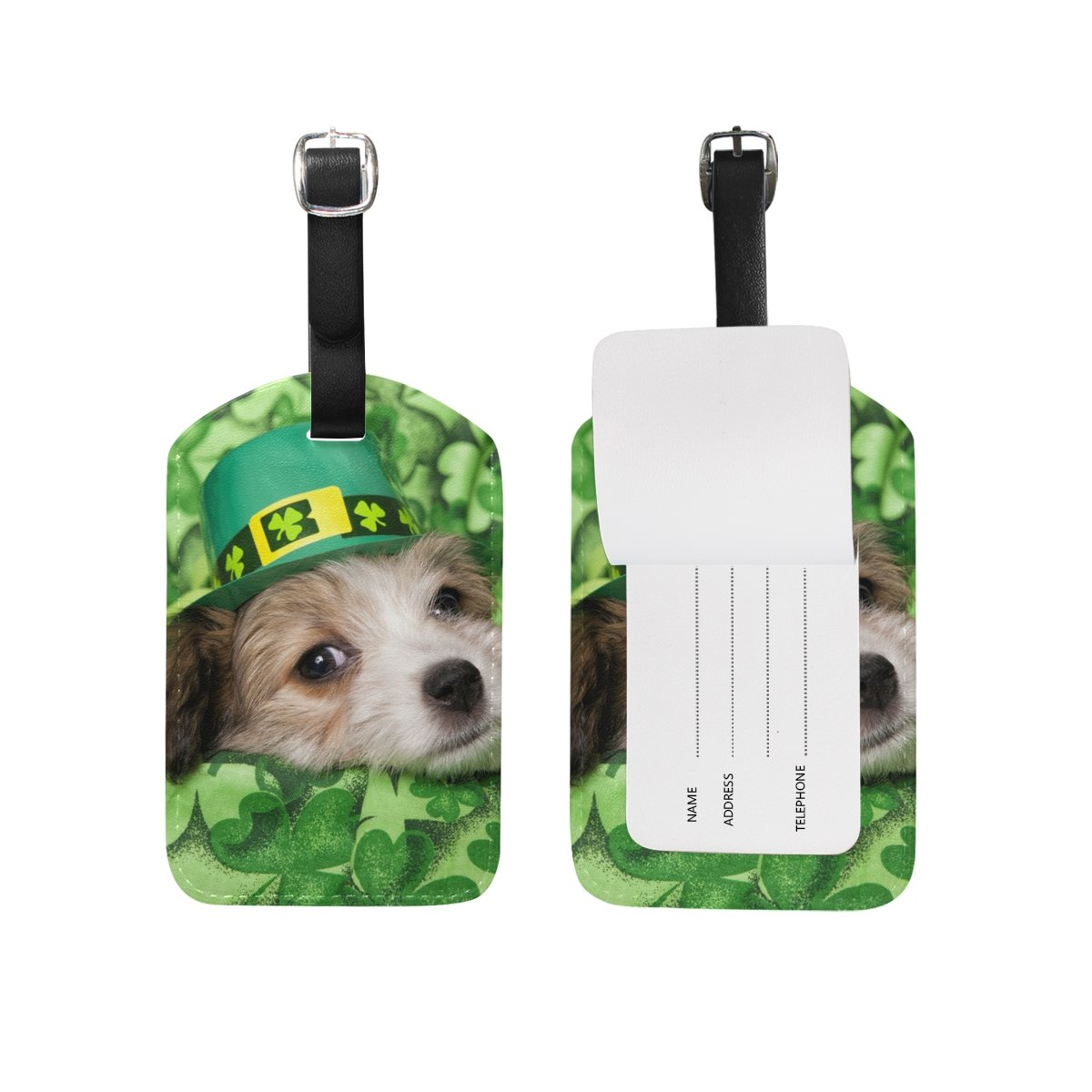 Cute Dog Clover St Patricks Day Leather Luggage Tags Personalized Flexible Custom Travel Tags With Adjustable Strap