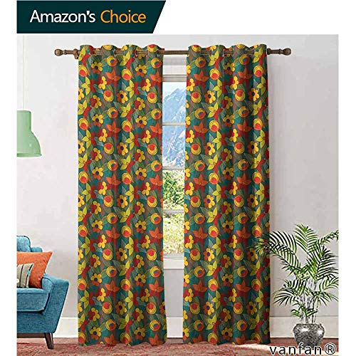 Big datastore Privacy Room Divider Curtain,FloralDoodle Style Flowers with Abstract Foliage Leaves Background Botanic Illustration,Grommet Top Insulated Door Blind,Multicolor,W96 xL96