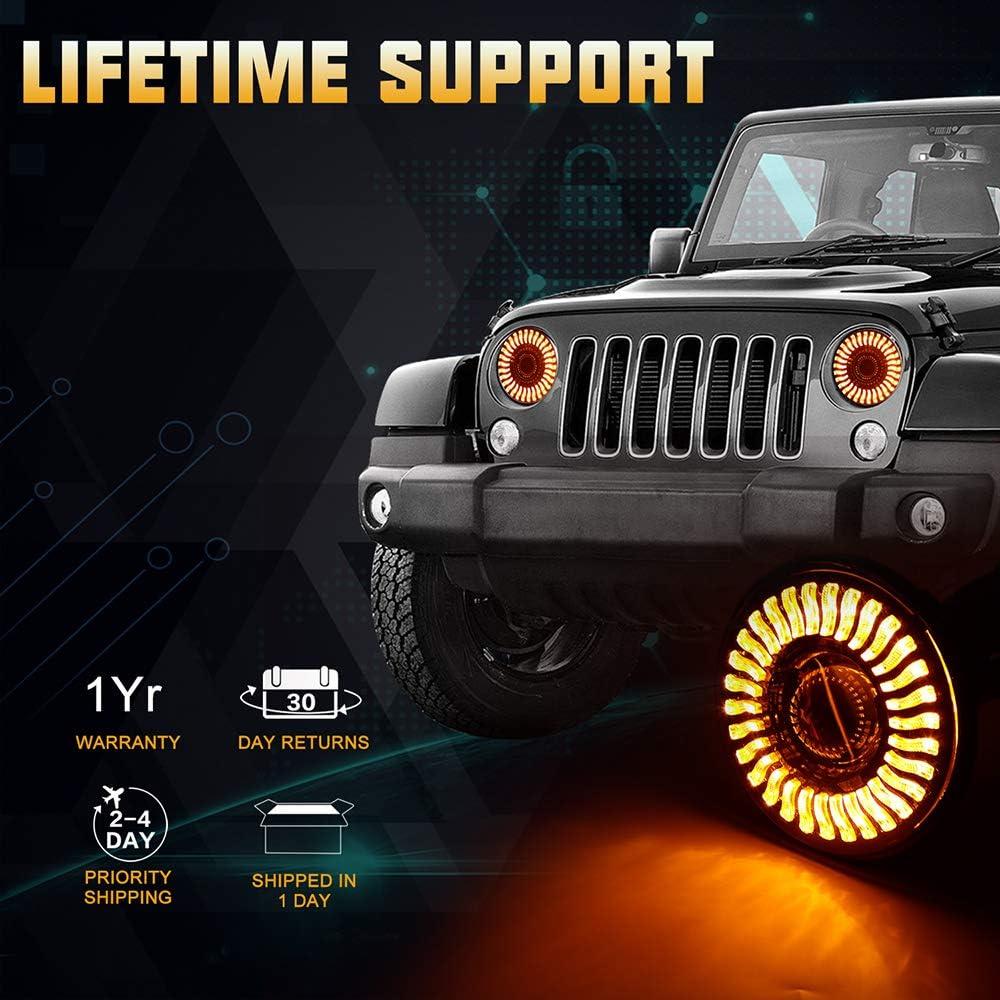 7 3D LED Headlights Bulb with Halo White DRL /& Amber Turn Signal Lights for Jeep Wrangler JK LJ CJ Hummer H1 H2