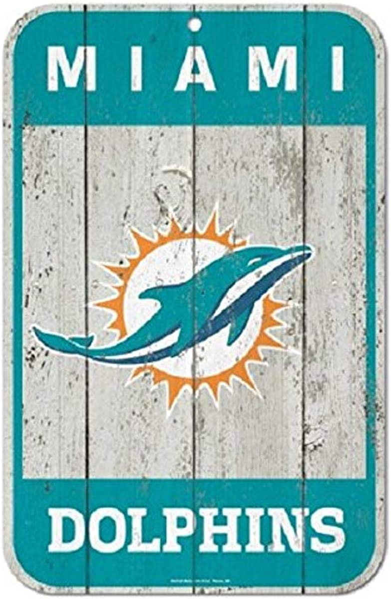 WinCraft NFL Miami Dolphins Distressed Wood Logo Sign, 11 x 17-inches