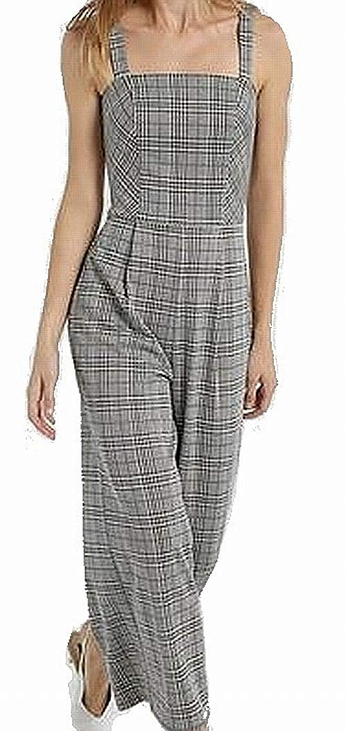 2a11f1a0925 Amazon.com  Soprano Womens Large Plaid Wide Leg Square Neck Jumpsuit Black  L  Clothing