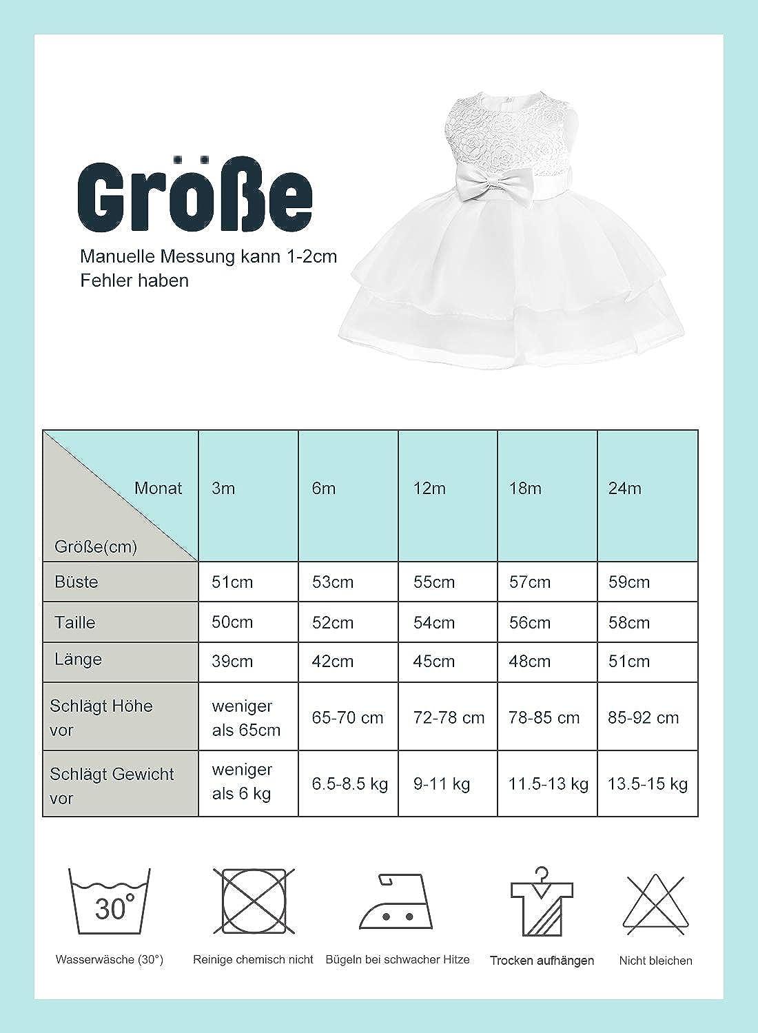 FUTURE FOUNDER Baby M/ädchen Prinzessin Kleid Blumenm/ädchenkleid Taufkleid Festlich Kleid Hochzeit Partykleid Festzug Babybekleidung