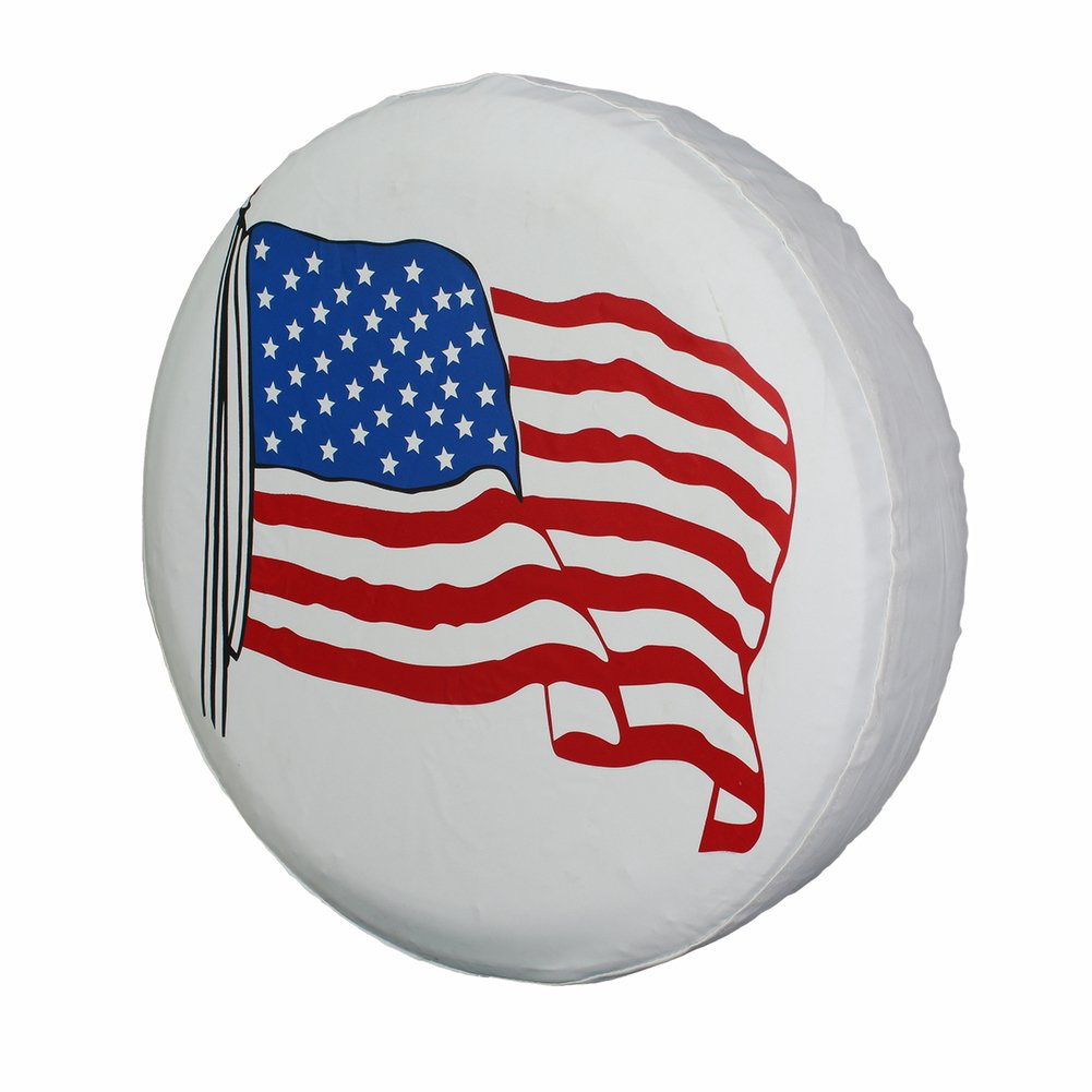 Spare Tire Cover 17 inch American Flag White Waterproof Universal Wheel Tire Covers for RV Jeep Trailer Honda CRV Toyota RAV4 SUV Camper (17'' for diameter 31''-33'') by Tsofu (Image #7)