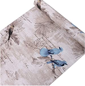 SimpleLife4U Blue Birds Contact Paper Handwriting Pattern Self-Adhesive Shelf Liner Locker Sticker 17.7 Inch By 9.8 Feet