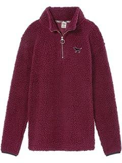 Victorias Secret Pink Boyfriend Quarter Zip Sherpa Fleece Sweater