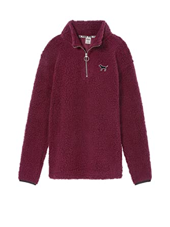 de6f4181fac VS PINK Victoria's Secret Pink New! Sherpa Boyfriend Quarter-Zip (Small,  Deep Ruby) at Amazon Women's Coats Shop