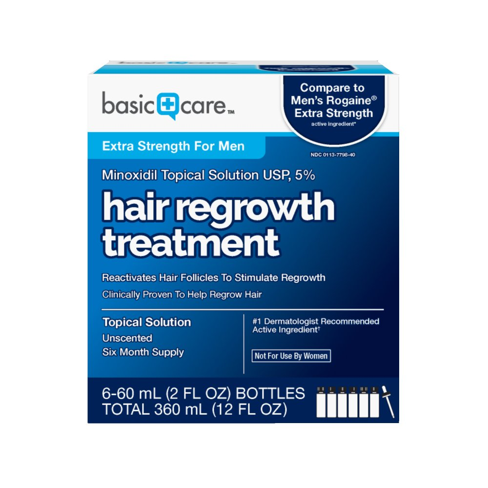 Basic Care Minoxidil Topical Solution USP, 5% Hair Regrowth Treatment for Men 12 FL OZ by Basic Care