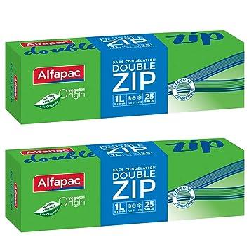 Alfapac - Lote de 25 bolsas de congelación con doble ...