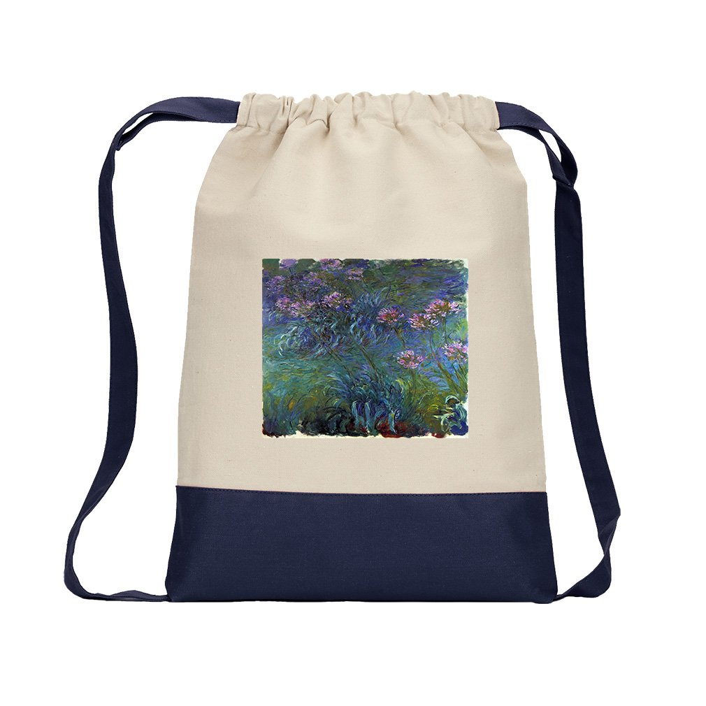 Jewelry Lilies #2 (Monet) Canvas Backpack Color Drawstring Bag - Navy