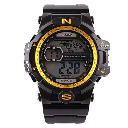 Logobeing Reloj LED Digital Hombre Pulsera Relojes Deportivos Impermeables Electrónica Digital (B)
