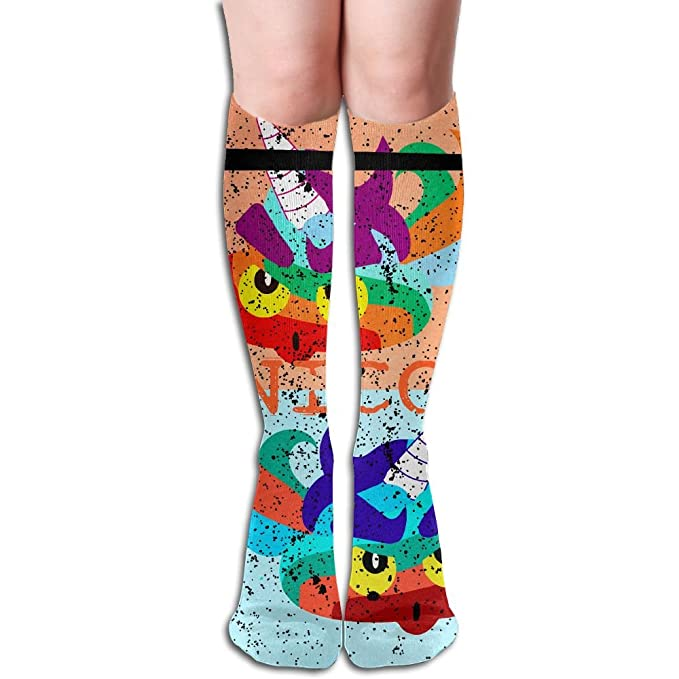 b17b17b44 Image Unavailable. Image not available for. Color  Unisex Unicorn Poop Emoji  With Rainbow Colorful Design Elastic Long Socks Compression Knee High ...