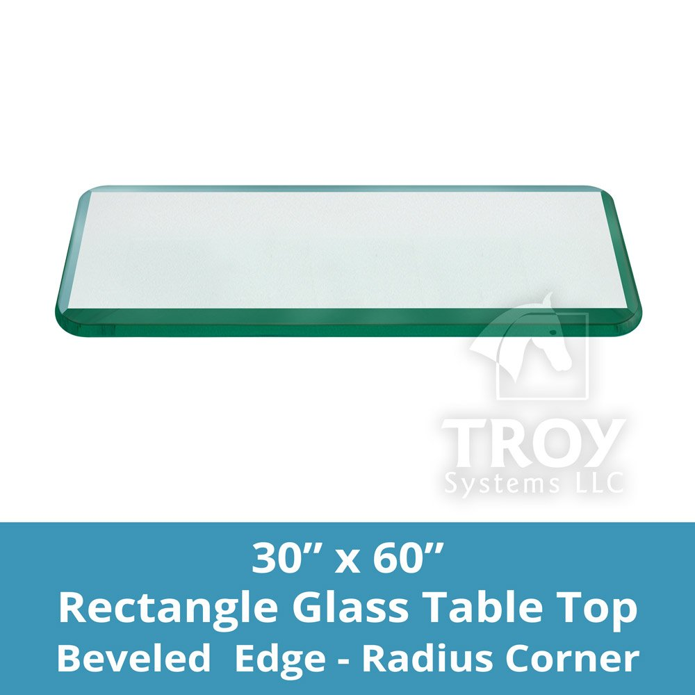 TroySys T30X60RE12MMBEAN-R Glass Table Top, Bevel Polished Edge, Radius Corners, Annealed, Rectangle, 30''L x 60''W