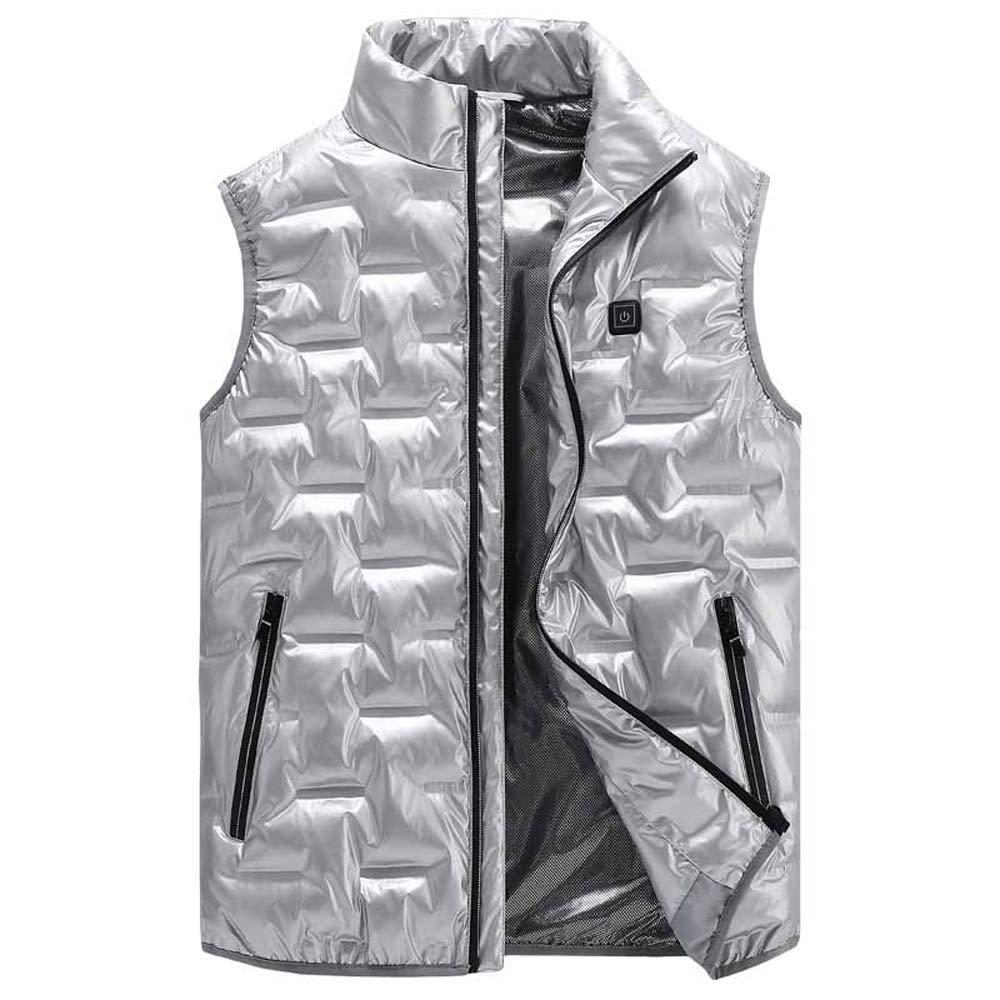 Heisse Winterweste - Waschbare, temperaturverstellbare elektrische Weste, Wärmeweste für Damen, Herren, Ski, Wandern, Camping, Weiß, XL