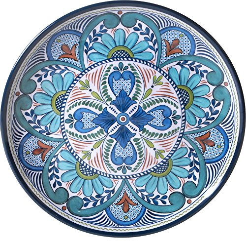 Green Round Platter (Certified International Talavera 14