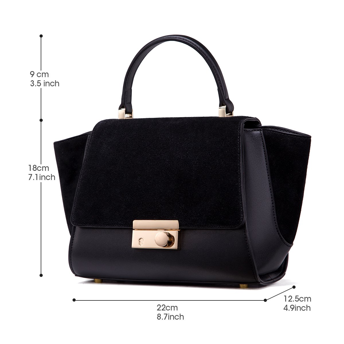 8d199eb8a0 Ladies Black Leather Handbags Designer Purses with Adjustable Shoulder  Strap  Handbags  Amazon.com
