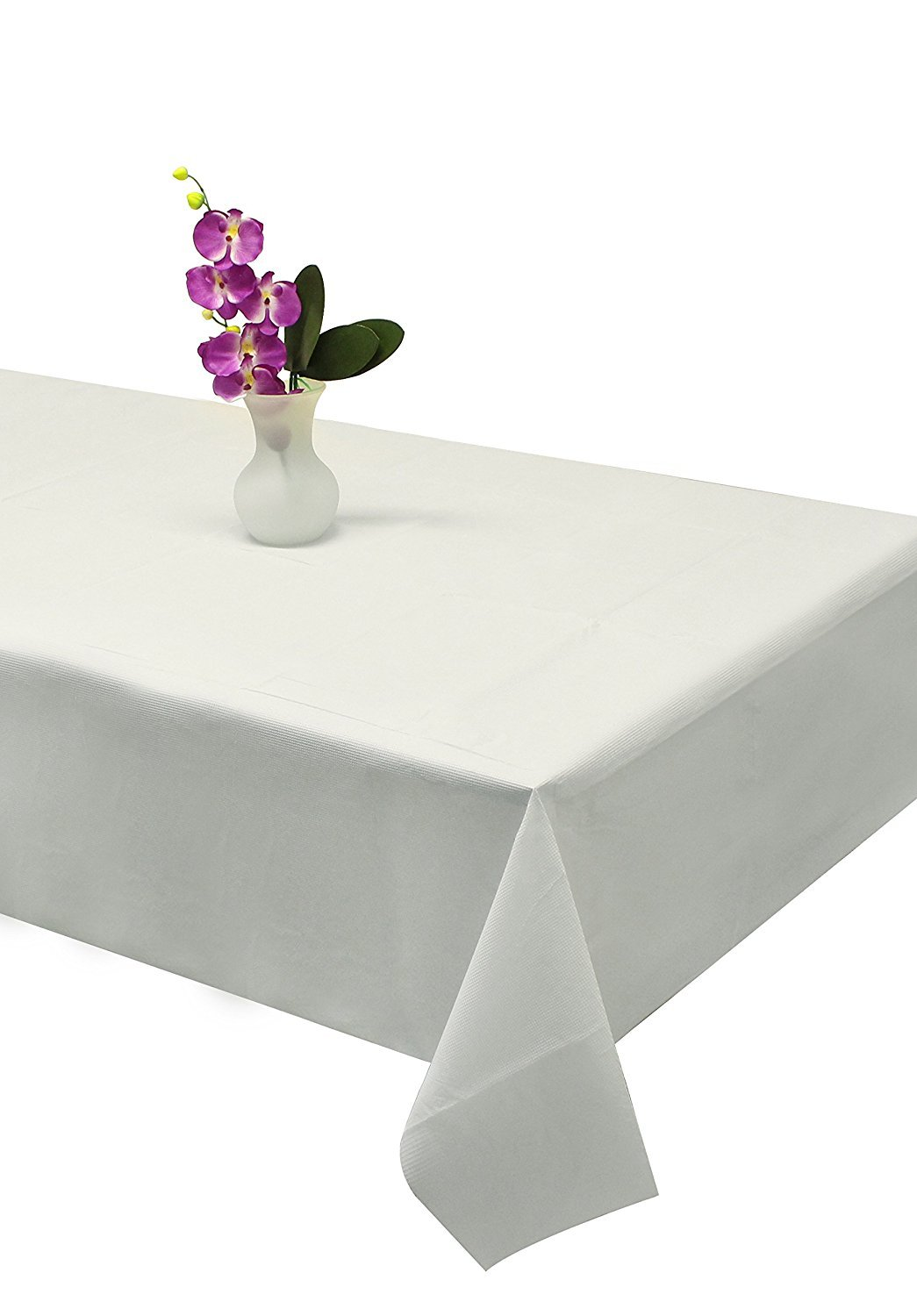 Party Bargains Disposable Table Cover | Classic White Paper 3 Ply Premium & Elegant Plastic Table Covers - Size 54'' X 108'' | Pack of 5 by Party Bargains (Image #2)